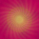 Background with sunburst lines. Pink and yellow background with retro textile in back with  twisted sunburst  effect Stock Photos