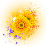 Background with sunflowers stock illustration