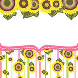 Background with sunflowers. Vector shiny background with sunflowers and place for text Royalty Free Stock Photos