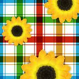 Background with sunflowers and square pattern. Bright colorful background with sunflowers and square pattern. Vector illustration Stock Photo