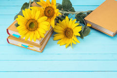 Background with sunflowers and yellow book on blue wooden boards Royalty Free Stock Photos