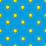 Background of the suns (blue). The pattern for the background, made of little smiling suns. Childrens option Stock Images