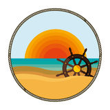 Background sunset with boat helm Stock Images