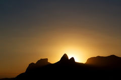 Background sunset mountain Pedra da Gavea, Two brothers, Ipanema Royalty Free Stock Photo