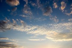 Background of the sunset sky and some clouds royalty free stock image