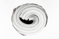 Background surface of few twisted magazines isolated on white background.  stock photography