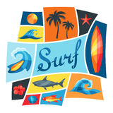Background with surfing design elements Stock Photos
