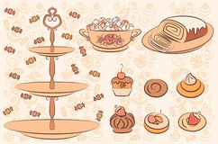Background with sweet cakes. Royalty Free Stock Photo