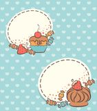 Background with sweet cakes. Stock Images