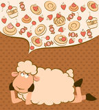 Background with sweet cakes and sheep Royalty Free Stock Photos