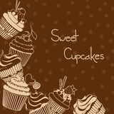 Background with sweet cupcakes Stock Images