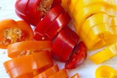 Background of sweet  peppers sliced in pieces Royalty Free Stock Image