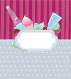 Background sweetness 2. Background with frame with ice cream and candy stripes on the background Royalty Free Stock Photo