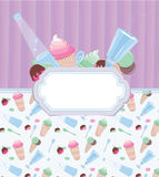 Background Sweetness. Background with frame with ice cream and candy stripes on the background Stock Photos