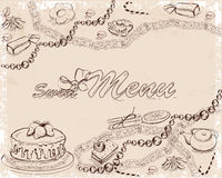 Background with sweets and cakes for menu design. Hand drawn illustration Stock Photos