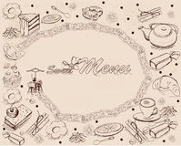Background with sweets and cakes for menu design. Hand drawn illustration Royalty Free Stock Photo