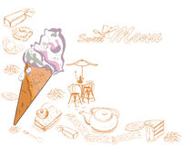 Background with sweets and cakes. For menu design. Hand drawn illustration Stock Images