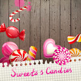 Background with sweets and candies Stock Photos