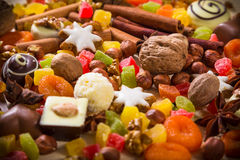 Background with sweets and chocolate Stock Photos