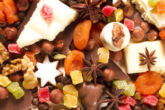 Background with sweets, chocolate, nuts Stock Photos
