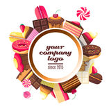 Background for sweets company logo. Spare place for your text and logotype. Cupcakes, chocolates, ice creams, muffins, and candies  on white background. Vector Stock Photography