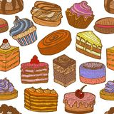 Background with Sweets in Hand Drawn Doodle Style. Colored Seamless Pattern with Cupcakes Cakes and Pastries. Background with Sweets in Hand Drawn Doodle Style Royalty Free Stock Photos