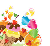 Background with sweets, illustration. Background with sweets, fruit, berries and ice cream over white Stock Photos