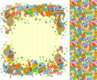 Background with sweets and place for writing and seamless pattern stock illustration