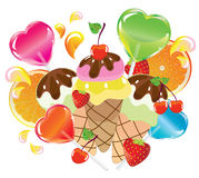 Background with sweets, Valentine. Background with sweets, fruit, berries and ice cream over white Royalty Free Stock Photo
