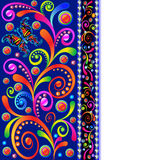 Background with swirls, butterfly and precious stones stock illustration