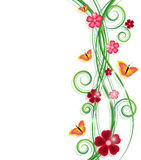 Background with swirls. Flowers and butterflies vector illustration