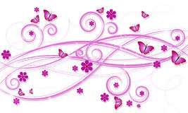 Background with swirls. Flowers and butterflies royalty free illustration