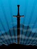 Background, sword in stone Royalty Free Stock Photos