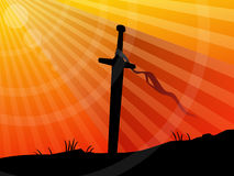 Background, sword in sunset. Vector longsword in ground - sunset Royalty Free Stock Images