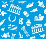 Background with symbols of Greece. Seamless background with symbols of Greece. Vector illustration Stock Photos