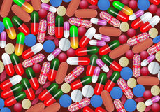 Background with tablet pill and capsule medicine Stock Photos