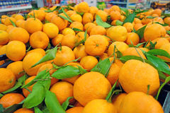 Background of tangerines with leaves Stock Photography