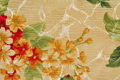 Background tapestry fabric beige, red, green flower. Background tapestry fabric beige, red, green closeup stock photo