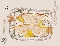 Background with fish dish Royalty Free Stock Photos