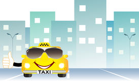 Background with taxi on city road Stock Photos