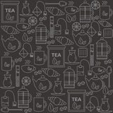 Background with tea icons. The pattern for your product or company. Stock Images