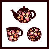 Background with a tea set. Vector background witha tea set Stock Images