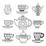 Background of Tea Time ,Tea cups, pots  and  Cupcake Stock Photos
