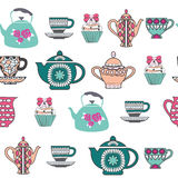 Background of Tea Time ,Tea cups, pots  and  Cupcake Royalty Free Stock Image