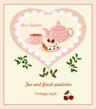 Background with teapot, Cup and cakes. Card with lace in polka dot in the frame heart Royalty Free Stock Images