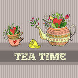 Background with teapot. Vector background with cute teapot and cups Stock Photo