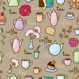 Background with teapots, coffepots, cups and sweet Royalty Free Stock Images