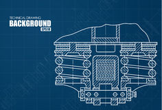 Background with the technical drawings of parts Royalty Free Stock Image