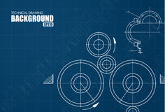 Background with the technical drawings of parts Royalty Free Stock Images