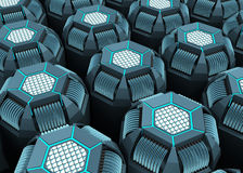 Background of Technology. CPU Hexagon of the future energized by fiber optic. Concept of technology good to use as background Royalty Free Stock Images